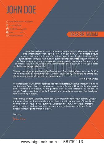 Modern cover letter resume cv template design with orange stripes