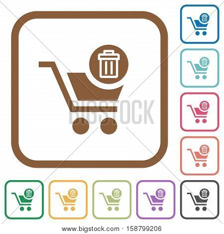 Delete from cart simple icons in color rounded square frames on white background
