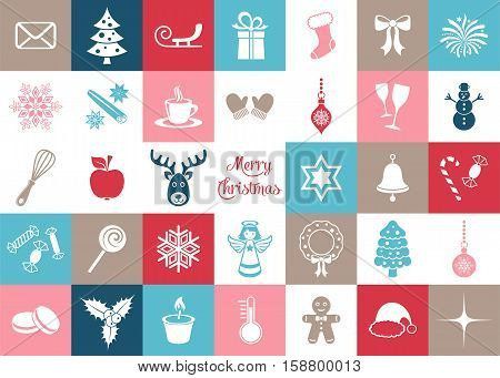 Colorful vector christmas icons big silhouette signs collection