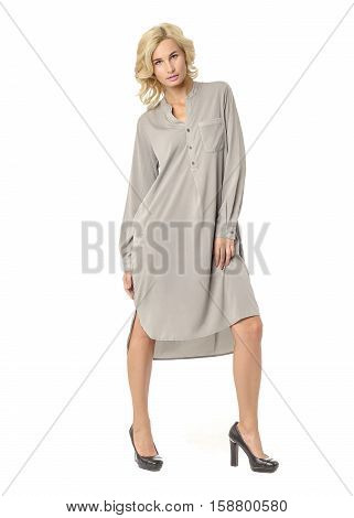 Portrait Of Flirtatious Woman In Shirt Maxi Dress Isolated On White