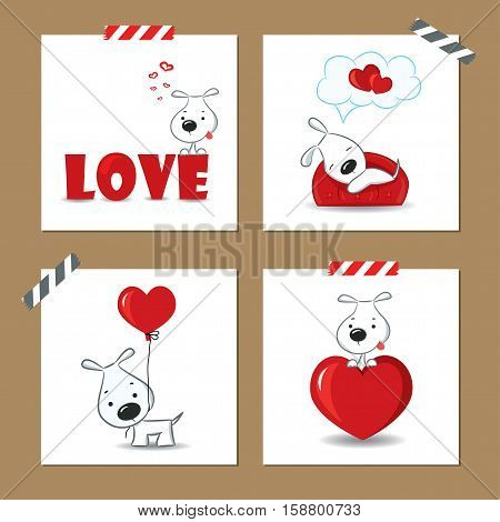 Cute Valentine's day cards with funny puppy and hearts