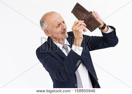 Male Shows Empty Wallet Moneyless Concept