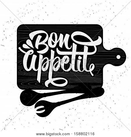 Hand drawn typography poster. Inspirational vector typography. Bon appetit. Vector calligraphy.