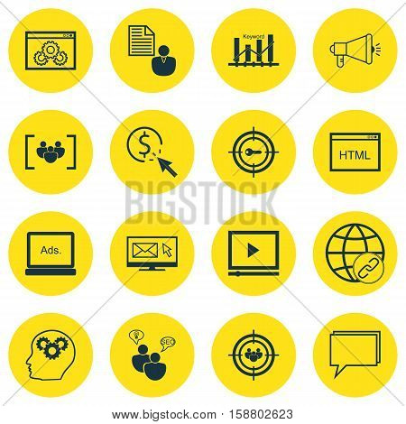 Set Of Advertising Icons On Connectivity, Keyword Optimisation And Brain Process Topics. Editable Vector Illustration. Includes Audience, Optimization, Ranking And More Vector Icons.