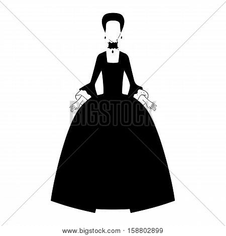 Woman in 18th century dress silhouette vector Illustration.