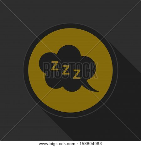 yellow round button with black ZZZ speech bubble icon and long shadow