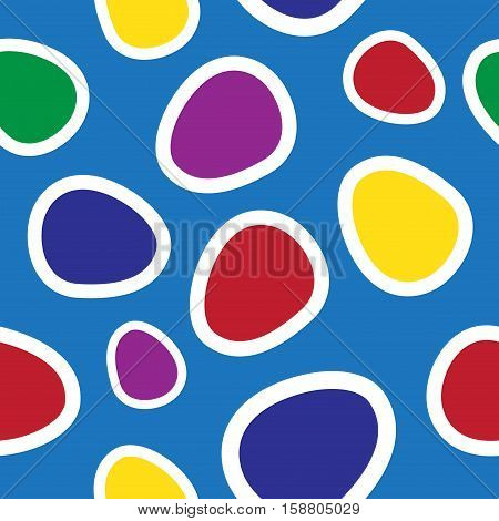 seamless illustration - colored oval shapes on a blue background