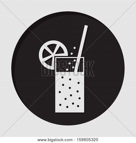information icon - black circle with white glass - carbonated drink straw and citrus and shadow