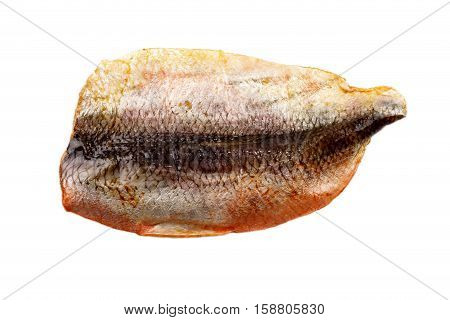 smoked scottish kipper with skin side isolated on white