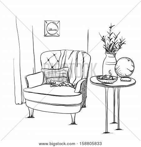 Modern interior hand drawing vector. Chair and blanket