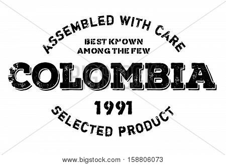 Assembled In Colombia Rubber Stamp