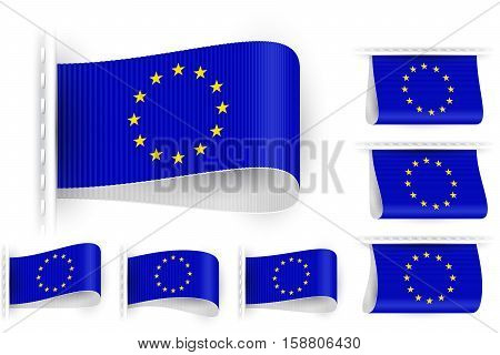 National state flag of European Union; Sewn clothing label tag; Vector icon set EU flags Eps10; Blue-white version