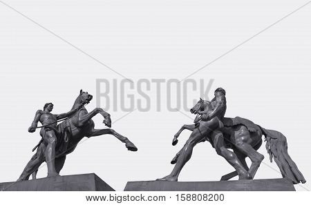 Horses sculpture Klodt on Anichkov bridge in St. Petersburg Russia