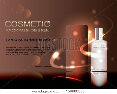 Cosmetic ads template, blank cosmetic mockup with sparkling effect.