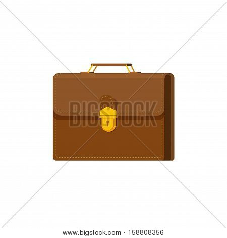Briefcase vector illustration isolated on white background, flat cartoon case icon, suitcase