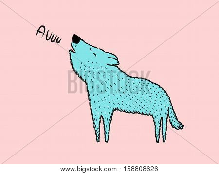 Isolated Blue Wolf howling cartoon vector illustration