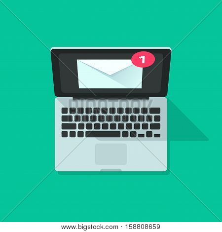 Email notification on laptop vector illustration top view, concept of electronic mail message, new e-mail, newsletter on green color background