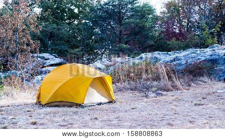 Private tent camping outdoors in forest clearing