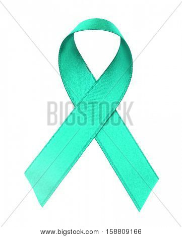 Green ribbon isolated on white. Mitochondrial diseases and kidney cancer concept