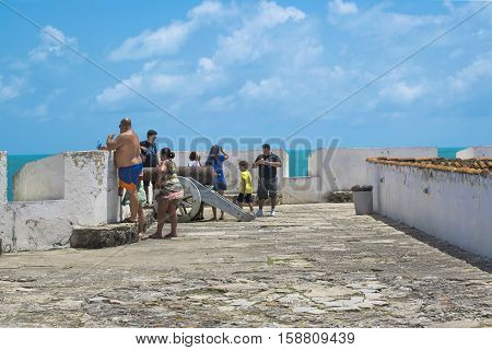 NATAL, BRAZIL, JANUARY - 2016 - Group of tourist watching the view at Forte dos reis Magos Natal Brazil