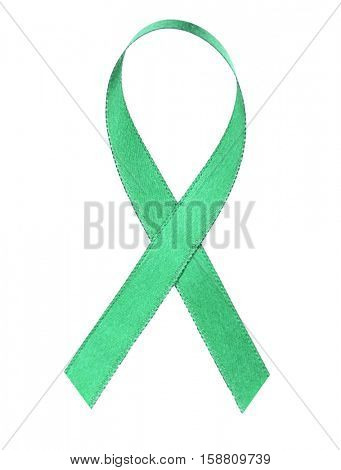 Green ribbon on white background. Mitochondrial diseases and kidney cancer concept