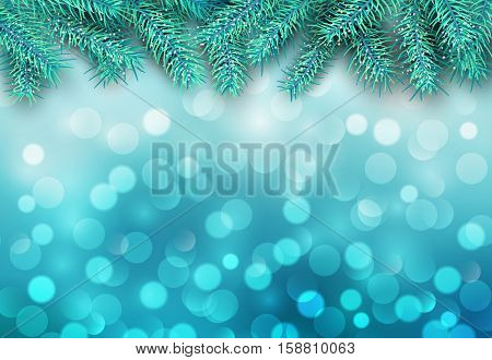 Christmas abstract background blue blinking bokeh with pine tree.