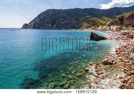 The gulf of Monterosso al Mare, Italy. Monterosso It is one of the five villages in Cinque Terre. Is located at the center of a small natural gulf, protected by a small artificial reef