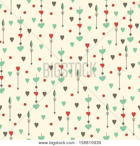 Hearts and arrows seamless pattern. Valentine's day. Holiday background