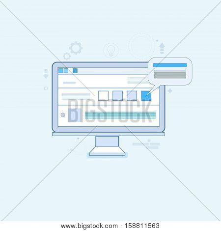 Computer Desktop Workstation Workplace Thin Line Vector Illustration