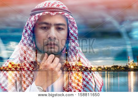 Double exposure Arab businessman have pondered about the oil business.