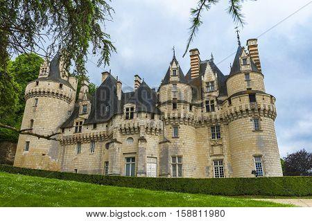RIGNY D'USSE,FRANCE-JUNE 2016: Park view on Usse castle