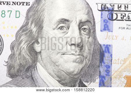 Macro close up of the US dollar bill .