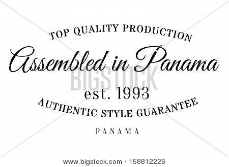 Assembled In Panama Rubber Stamp