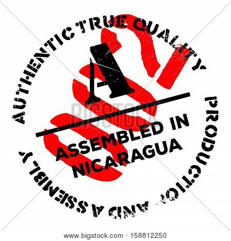 Assembled In Nicaragua Rubber Stamp