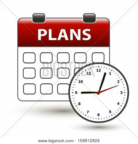 tear-off calendar with clockface with title plans on a white