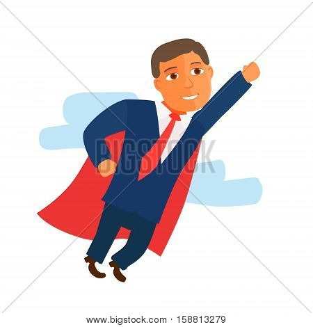 Businessman Cartoon Character in Blue Suit start up. Vector illustration