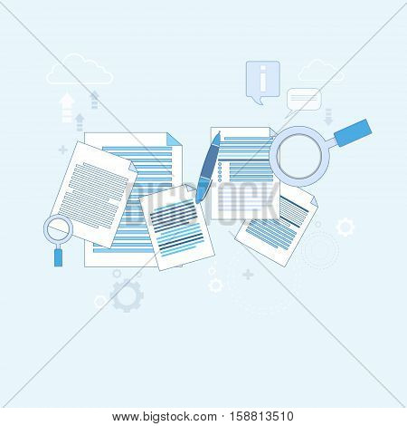 Paper Document Search Magnifying Glass Paperwork Business Vector Illustration