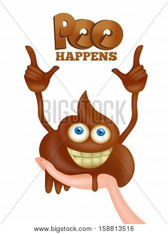 Poo emoji cartoon smiley funny character. Vector illustration