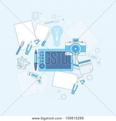 Design Idea Graphic Designer Drawing Icon Web Thin Line Vector Illustration