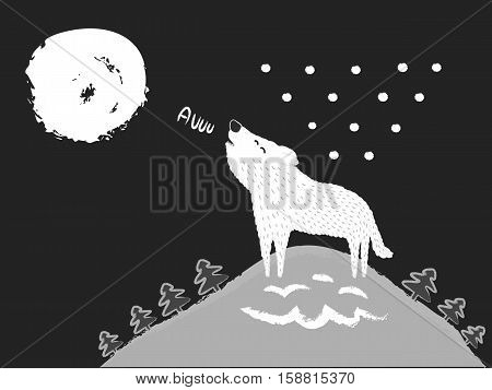 White Wolf howling at the Moon. Winter landscape and forest at night. Vector illustration.