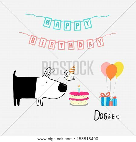 Dog and Bird Happy Birthday vector illustration