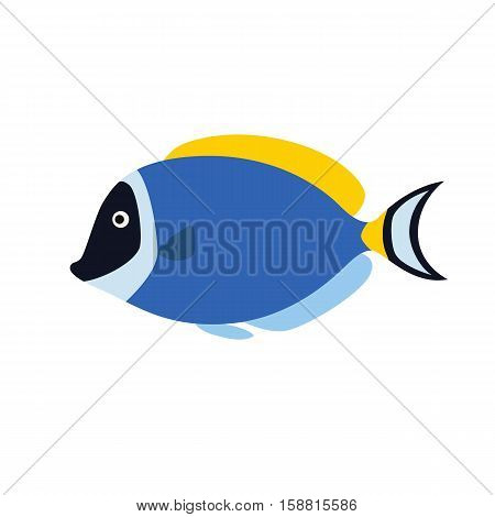 Fish blue surgeon side view. Vector illustration isolated on white background