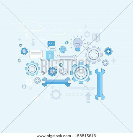 Spanner Wrench Cogwheel Support Technology Thin Line Vector Illustration