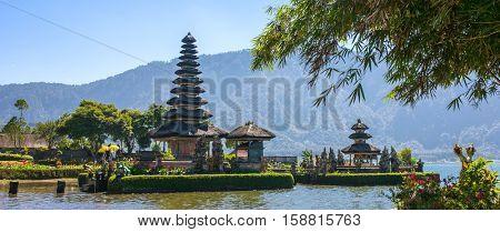 Panorama view of the Pura Ulun Danu temple on a lake Beratan in Bali ,Indonesia