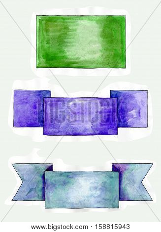 set of watercolor banners of different styles