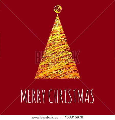 Christmas and New Year tree greeting card vector template.