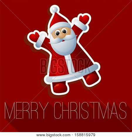 Christmas and New Year funny Santa greeting card vector template.