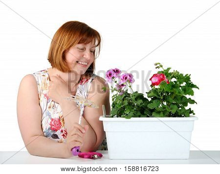 Portrait of middle-aged women admiring plants on a white background.