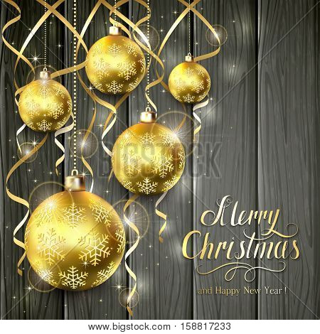 Golden Christmas balls and tinsel on black wooden background, lettering Merry Christmas and Happy New Year with gold holiday decoration, illustration.