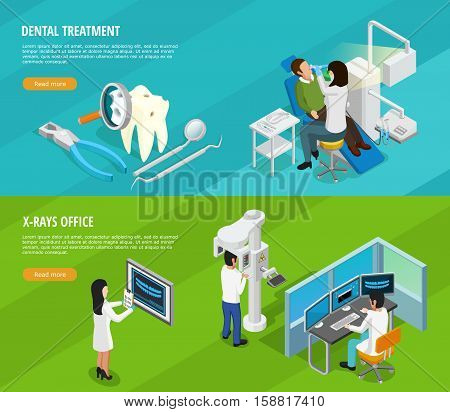 Dental isometric horizontal banners with doctors patients instruments and medical cure of teeth vector illustration